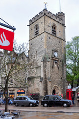 Oxford, UK - April 2018: Carfax Tower in Oxford old town