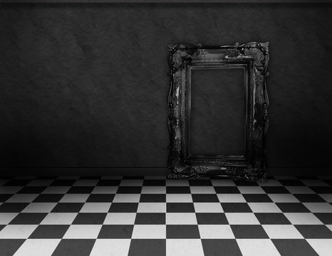 Empty, dark, psychedelic room with black and white checker on the floor and empty black frame. Nightmare or dream, museum scene or art gallery