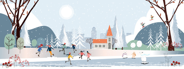 Panorama Winter landscape, Christmas and new year 2021 celebrated in the city,Vector of horizontal banner winter wonderland in the town polar bear,kids playing on snow and teenager skiing in the park Wall mural