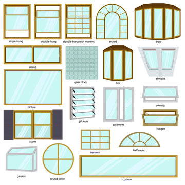 Different windows types. Architecture window set. Vector illustration isolated on white background.