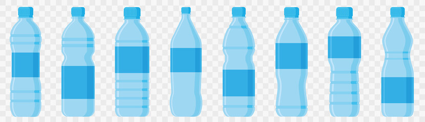 Water bottle in flat style set. Vector