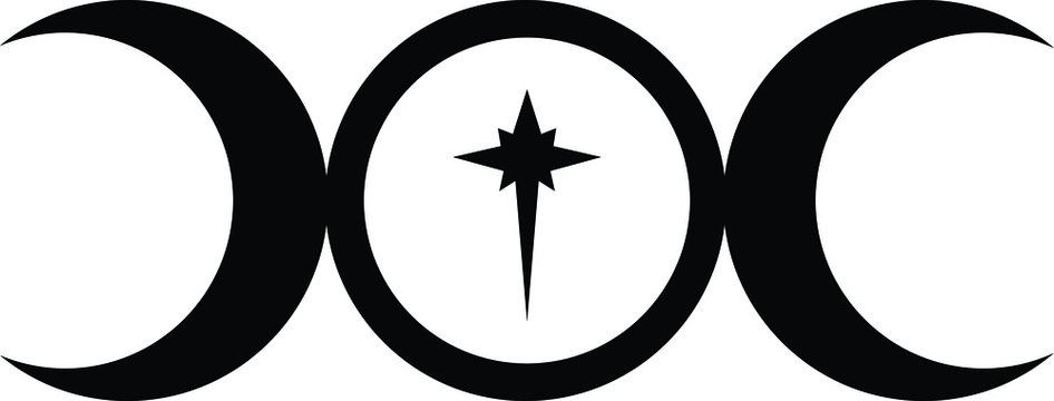 Triple Moon Goddess symbol with star in centre in black and white
