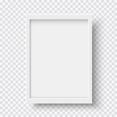 White blank picture frame, realistic vertical picture frame, A4