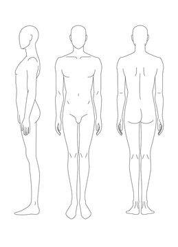 Sketch of the human body. Front, side and rear view. Pattern of the human body for drawing clothes. You can print and draw directly on sketches.