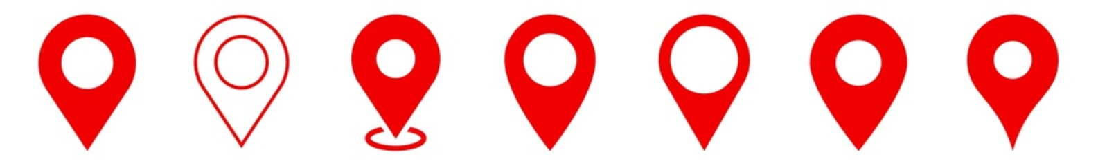 Location Pin Icon Red | Map Marker Illustration | Destination Symbol | Pointer Logo | Position Sign | Isolated | Variations