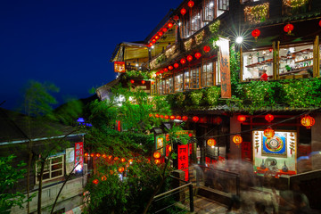 November 7, 2018: The night view of the famous old teahouse decorated with Chinese lanterns, Jiufen Old Street, Taiwan on November 07 2018.