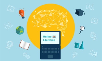Online education concept.Online education via computer or laptop. Flat design work, with icon, links for brain cells, bulbs, books, graduation hats, test tubes, magnifiers and educational materials. Wall mural
