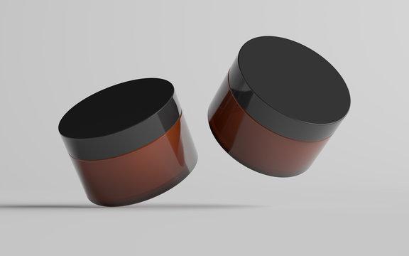 Amber Glass Cosmetic Jar Mockup - Two Jars