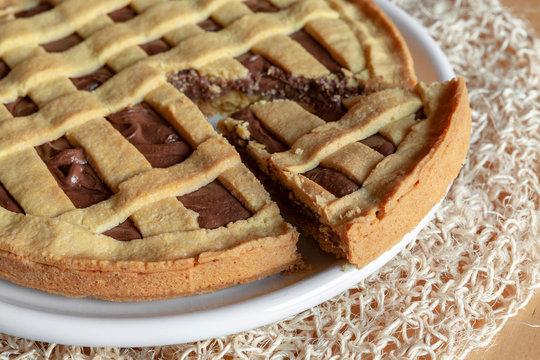 torta, crostata, nutella, cioccolata, fatta in casa, artigianale