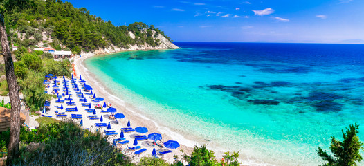 Best beaches of Greece with Blue flag - Lemonakia with turquoise sea. Samos island