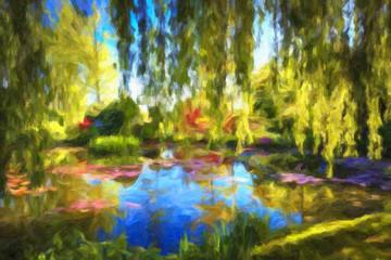 Fototapeten Pistazie Impressionnisme . Giverny, département de l'Eure. Bassin du jardin Claude Monet