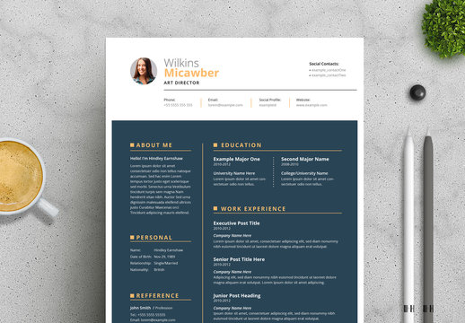 Resume and Cover Letter Layout with Gold Nevy Blue Accents