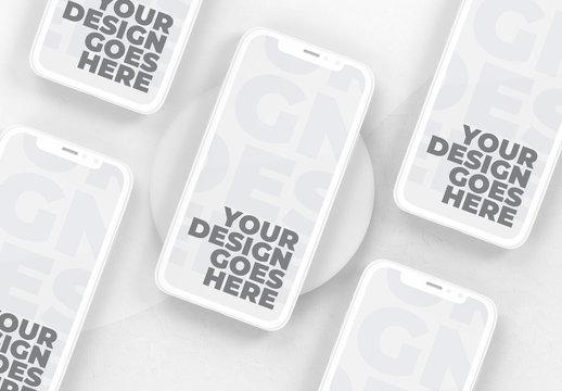 Floating White Clay Smartphone Mockup