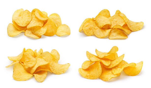 Collection of delicious potato chips piles, isolated on white background
