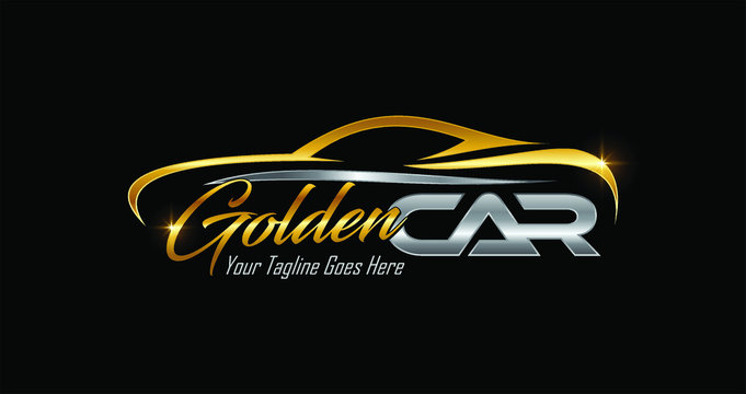Golden Car Logo Sign in gold and silver color