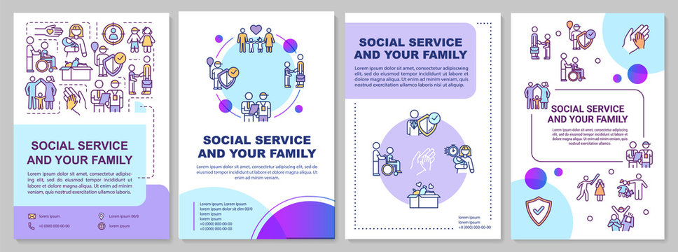 Social service and your family brochure template. Youth welfare. Flyer, booklet, leaflet print, cover design with linear icons. Vector layouts for magazines, annual reports, advertising posters