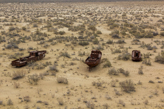 Rusting ships at the Ship Cemetery near Moynaq village at the former coast of Aral Sea, Uzbekistan