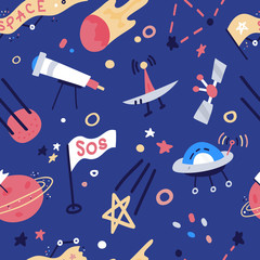 Vector Seamless Pattern With rockets, satellite, UFO, stars. Cartoon flat style cosmos kids background