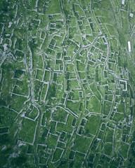 Aerial view of the walls and streets of the ancient aul Kunlum in Verkhnyaya Balkaria, Kabardino-Balkaria, Russia.