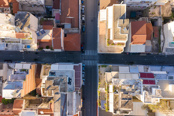 Aerial view of empty streets due to the coronavirus pandemic in Patras, Greece Fotomurales