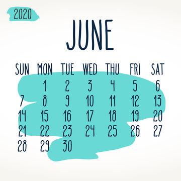 June year 2020 paint stroke monthly calendar