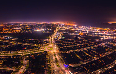 Aerial view of Hull City at night with city lights, UK. Fotomurales