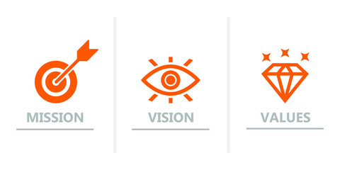 mission vision values icon , organizations mission icon
