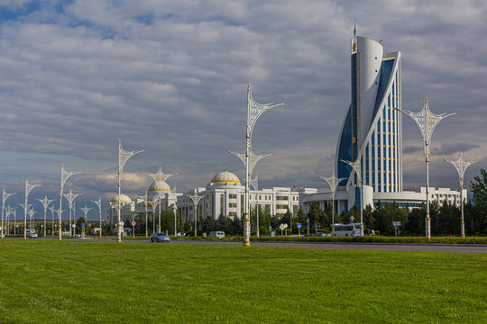Marble-clad buildings of modern Ashgabat, Turkmenistan