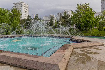 Fountains at a park in Ashgabat, capital of Turkmenistan.