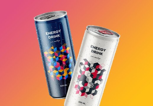 Floating Glossy and Matte Soda Aluminum Can Mockups