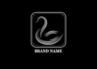 black and white logo design of a duck