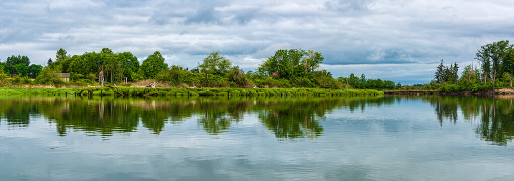 Panorama of a Stormy Morning on the Snohomish River in Springtime near Ferry Baker Island