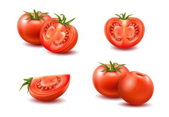 Fototapeta Vector realistic fresh red ripe tomato set obraz
