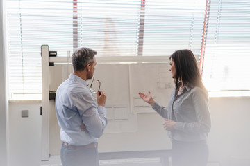 Businessman and businesswoman having a meeting in office