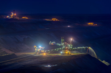 Germany, Juechen, lighted spreader at brown coal mining Garzweiler by night