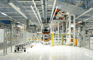 Production of VW cars in a factory