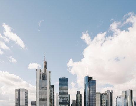 Germany, Hesse, Frankfurt, Sky over downtown skyscrapers