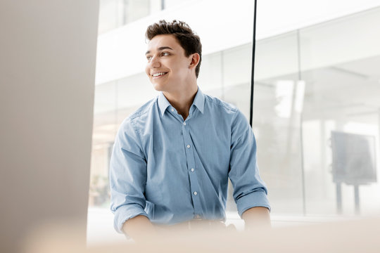Portrait of smiling young businessman at the window in office