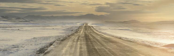 Road leading to Modrudalur Ranch, Iceland, Polar Regions