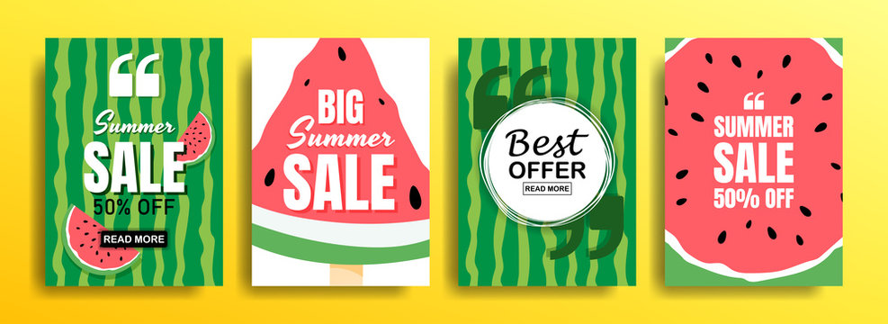 Set of empty templates with summer themes on a watermelon background. Design of advertising banners. Vector illustrations for websites and mobile websites, email design, posters, promotional materials