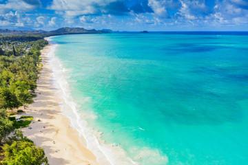 Aerial view by drone of Waimanalo beach, Oahu Island, Hawaii, United States of America, North America
