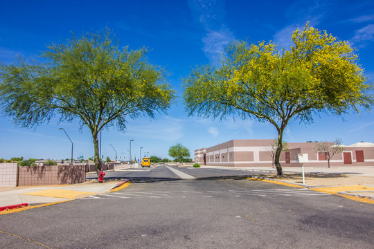 Empty School & Parking Lot Due To Coronavirus