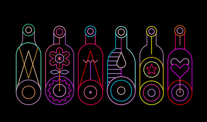 Neon colors on a black background Decorative Bottles vector illustration. Row of six different wine bottle silhouettes.