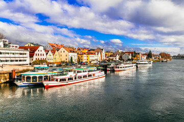 Beautiful towns of Germany - scenic Regensburg over Danube river famous for cruises. Landmarks of Bavaria