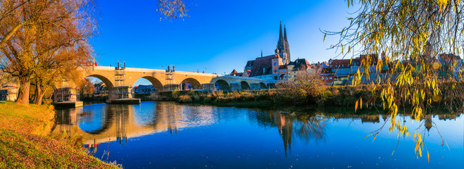 Wonderful Regensburg town - medieval city of Bavaria over Danube river. Landmarks of Germany