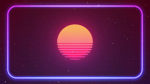 Cyberpunk neon background. Retro 80 s Sun. Pink blue light on dark backdrop. Rounded neon rectangle. Copy space. Vaporwave style. Retro future party flyer template. Stock vector illustration