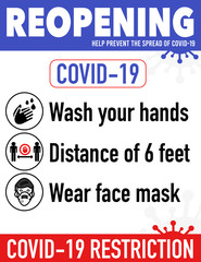 Reopening safe poster prevention of COVID19 coronavirus practical prevention tips poster print for restaurant, shop, cafe and more. Re-opening after quarantine.