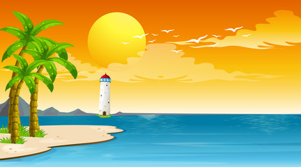 Photo sur cadre textile Jeunes enfants Scene with lighthouse and the sea at the sunset
