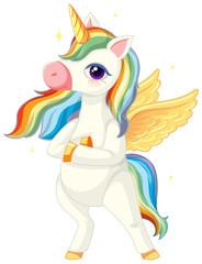 Photo sur Aluminium Jeunes enfants Cute rainbow unicorn in standing position on white background