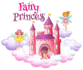 Font design for word fairy princess with fairies flying around castle